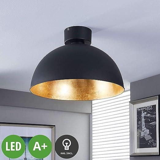 Plafonnier LED (moderne) en noir en métal u.a. pour le salon ...
