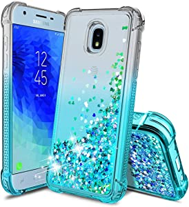 Tmacker Samsung Galaxy J3 2018 Case,Galaxy J3 Star/J3 Orbit/J3 VJ3 Achieve/J3 Top/Sol 3 Phone Case,Glitter Quicksand Shockproof Protective Phone Cover for Girls Women,Teal