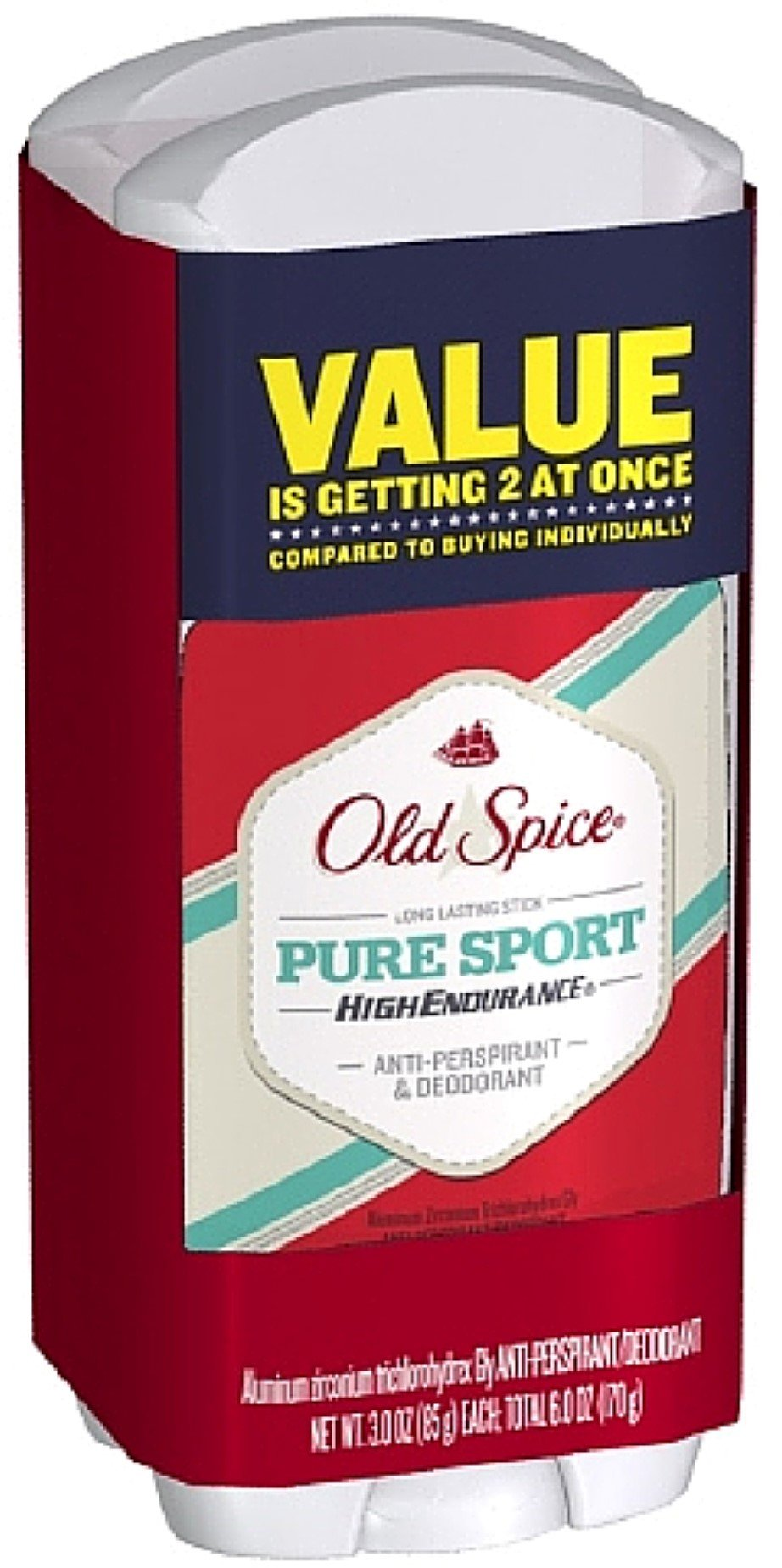 Old Spice High Endurance Antiperspirant & Deodorant, Twin Pack, Pure Sport 3 oz, 2 ea (Pack of 10)