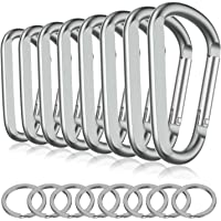 Michael Josh 8PCS 8CM Carabiner Keychain Clips with Keyring,Mini Aluminum D Ring Paracord for Outdoor Backpack Hiking Traveling and Key Chain Ring