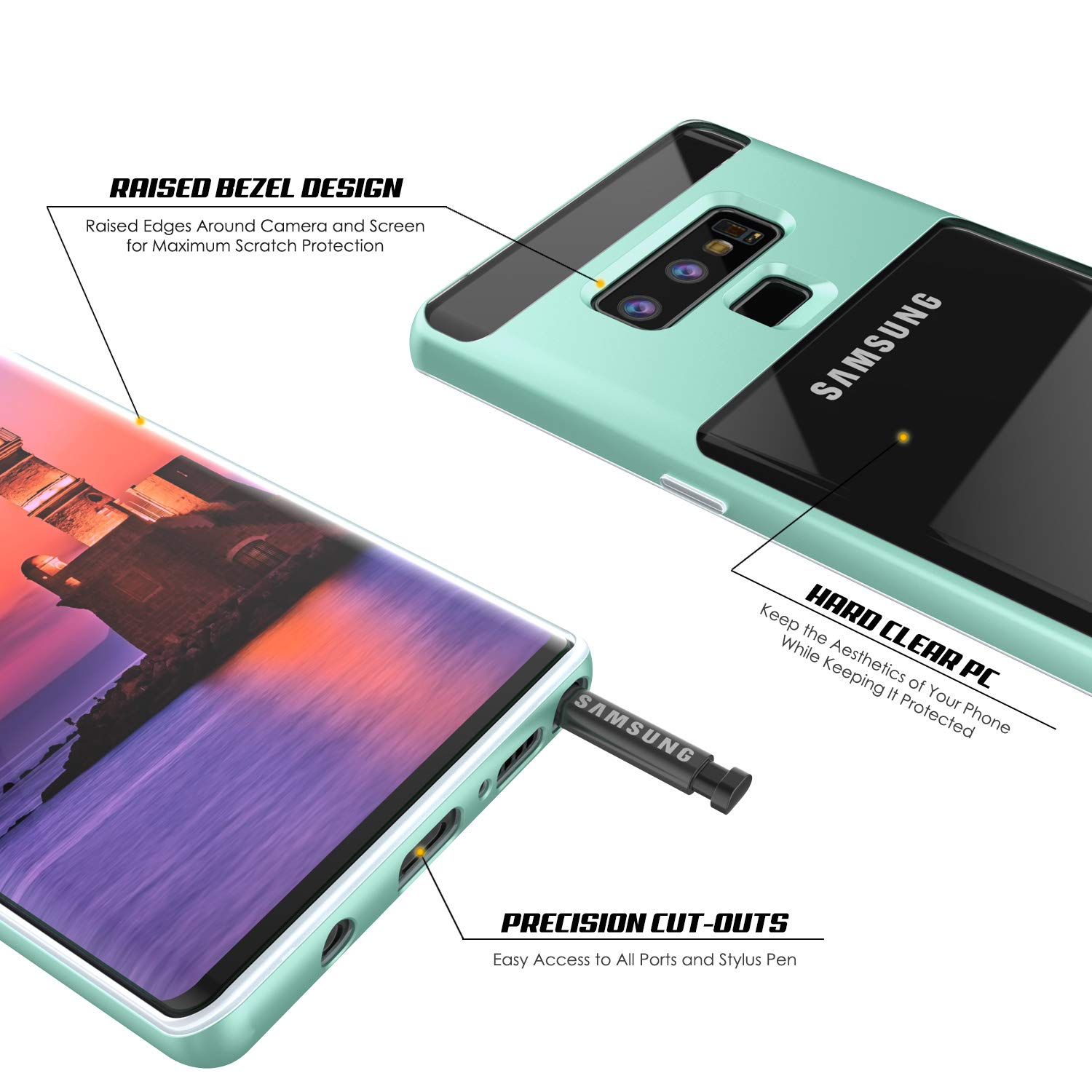 Galaxy Note 9 Case, PUNKcase [Lucid 3.0 Series] [Slim Fit] [Clear Back] Armor Cover w/Integrated Kickstand, Anti-Shock System & PUNKSHIELD Screen Protector for Samsung Galaxy Note 9 [Teal]