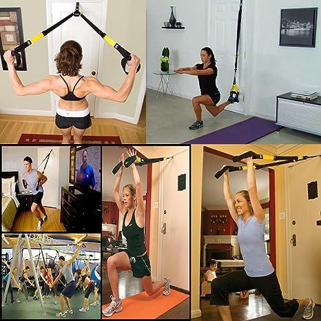 MAIKEHIGH Cuerdas de Suspensión para Entrenamiento de Ejercicios Fitness: Fortalecimiento, Resistencia y Estiramiento para Los Músculos - hasta 400KG ...