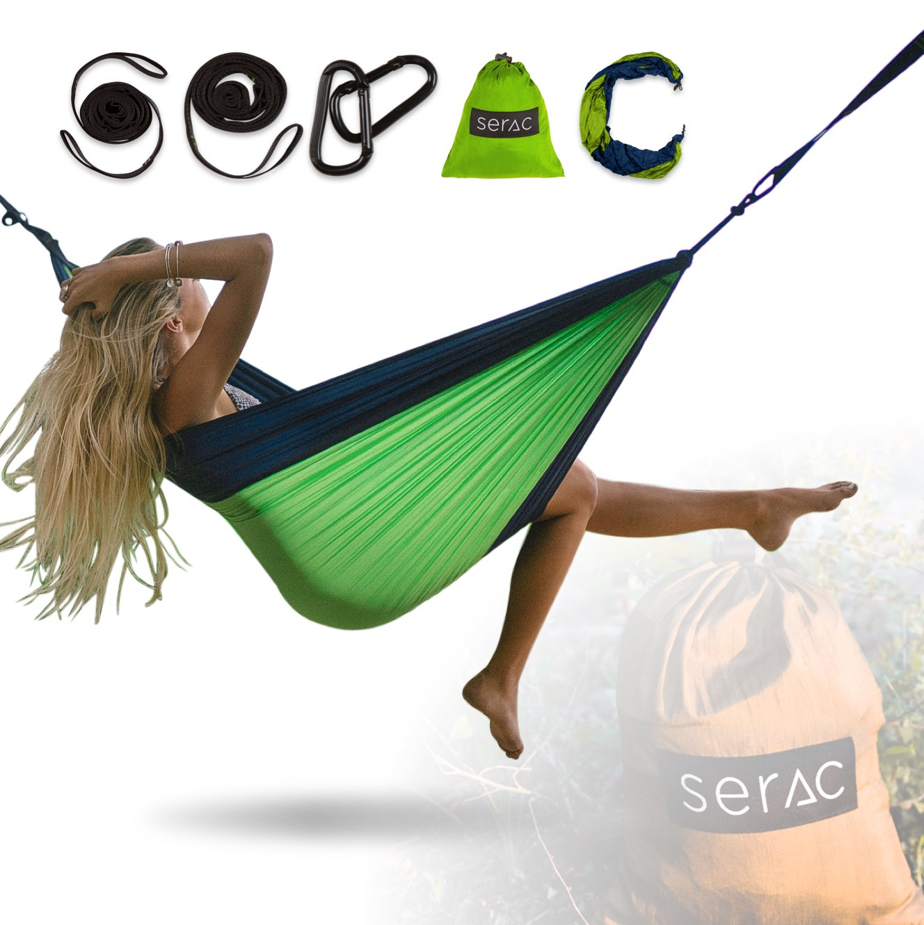 Durable Hammock /& Strap Bundle Classic Portable Single Camping Hammock with Suspension System - Perfect for The Backpack, Travel and Camping Serac