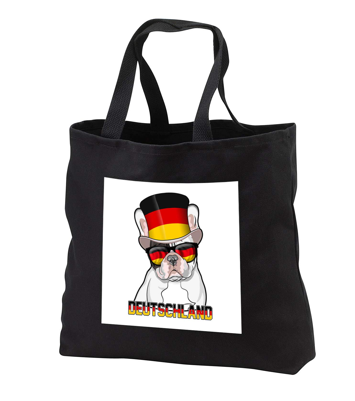 Carsten Reisinger - Illustrations - Germany French Bulldog with German Flag Top Hat and Sunglasses - Tote Bags - Black Tote Bag 14w x 14h x 3d (tb_293426_1)