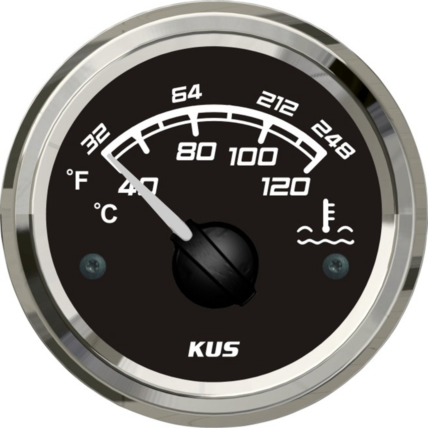 SEAWELL Kus Marine Water Temperature Gauge Boat Temp Meter 52mm 12/24V 40~120℃ Black by SEAWELL