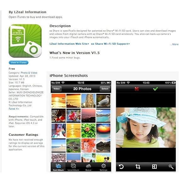 EZ compartir Wifi tarjeta SD de 8 G Clase 10 para dispositivo ...