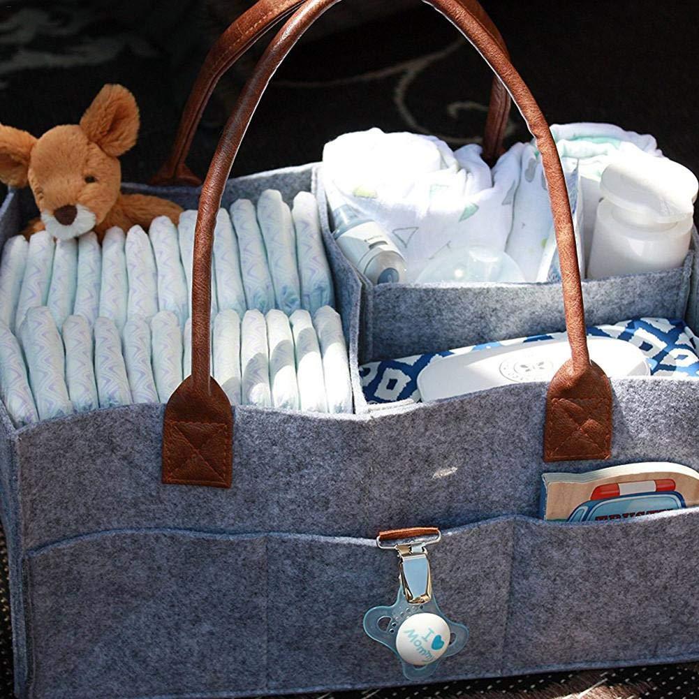 Todaytop Kindergarten Aufbewahrungsbox Wickeltasche Babytasche Auto Organizer Portable Halter Tasche Filz Baby Windel Caddy Organizer f/ür Windeln und Baby T/ücher