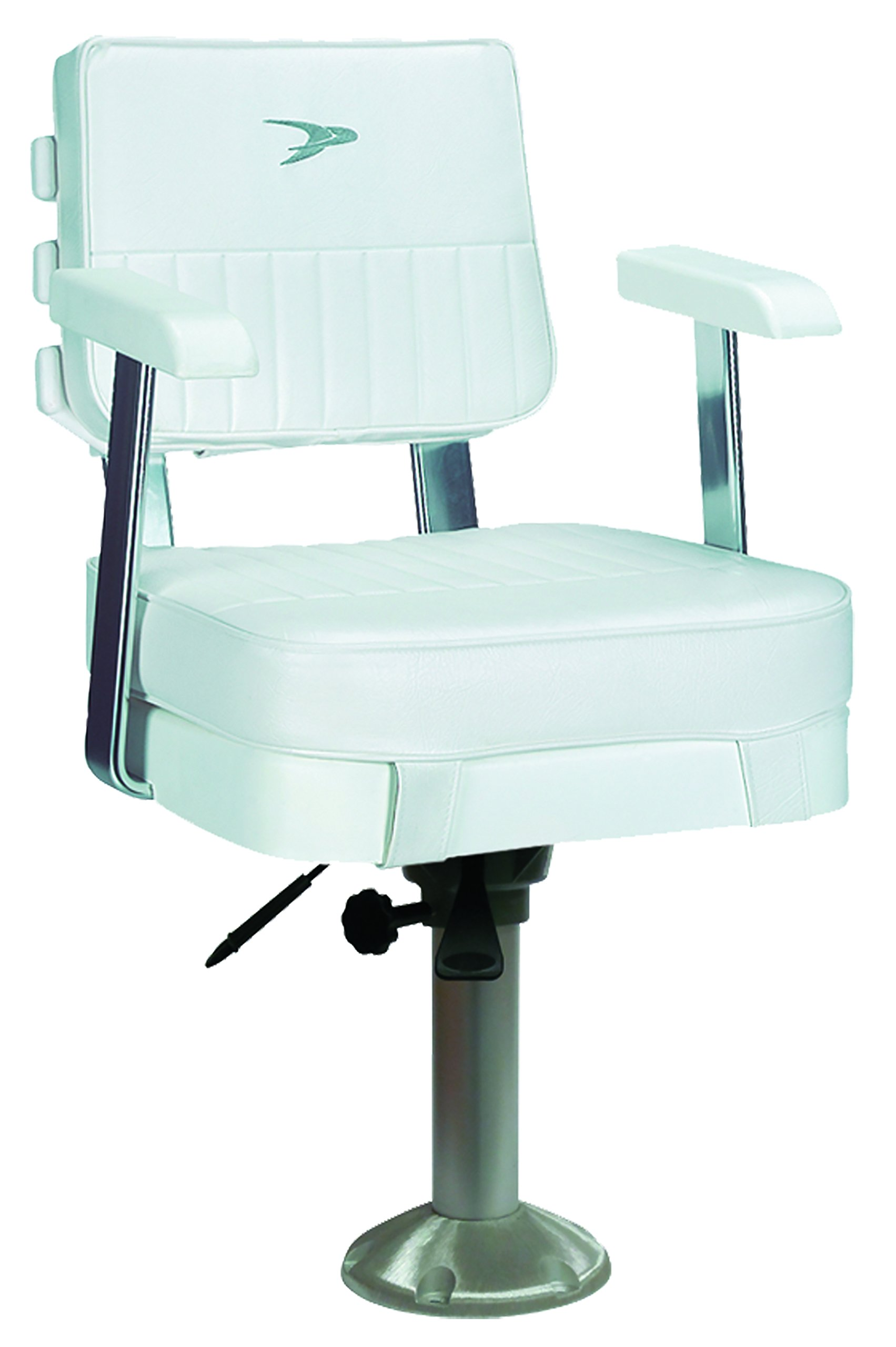 Wise Ladder Back Helm Chair with Arm Rests including 15-Inch Fixed Pedestal and Slide (White) by Wise