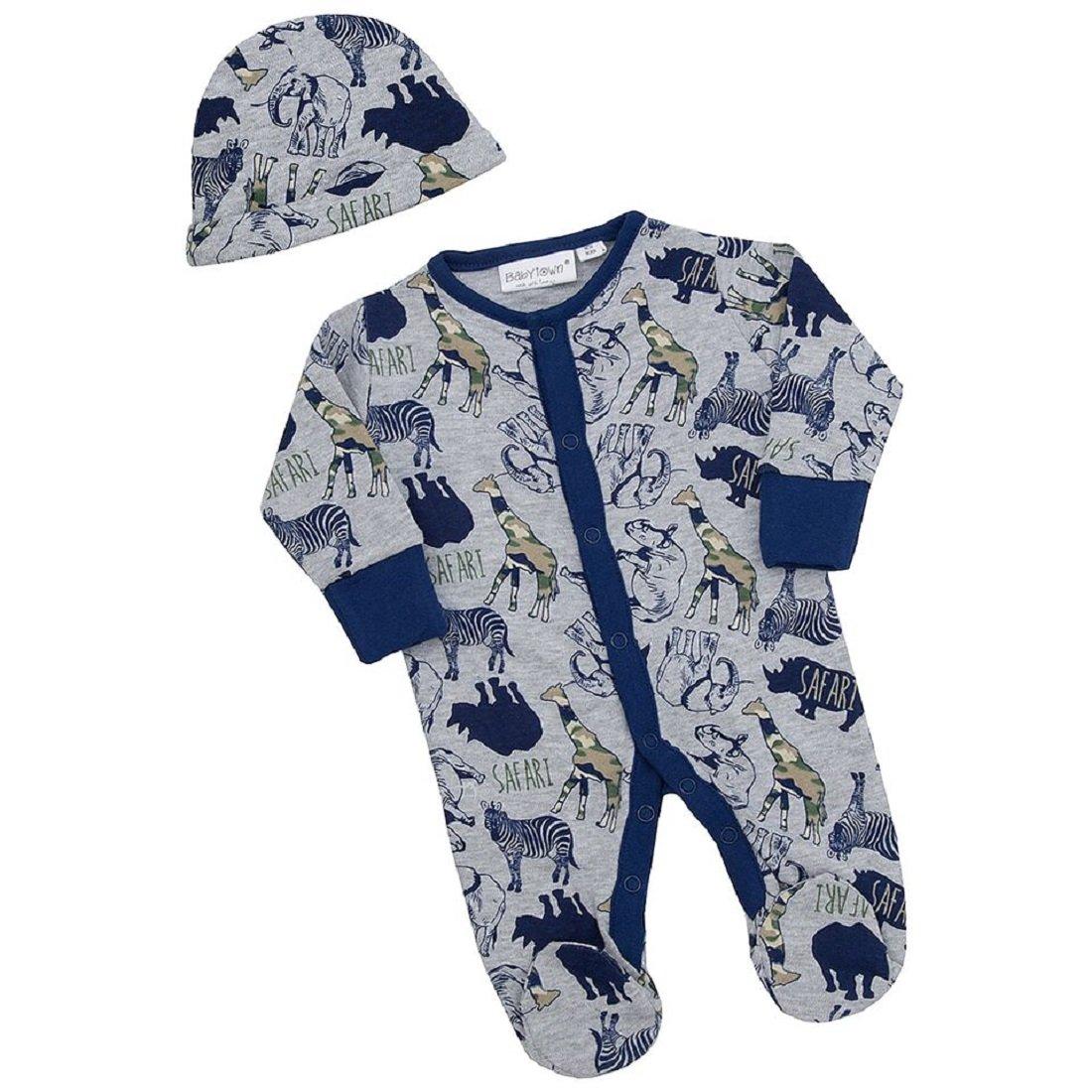 BABY TOWN Babies Sleepsuit/Babygro with Matching Hat Or Bib ~ Newborn - 9 Months