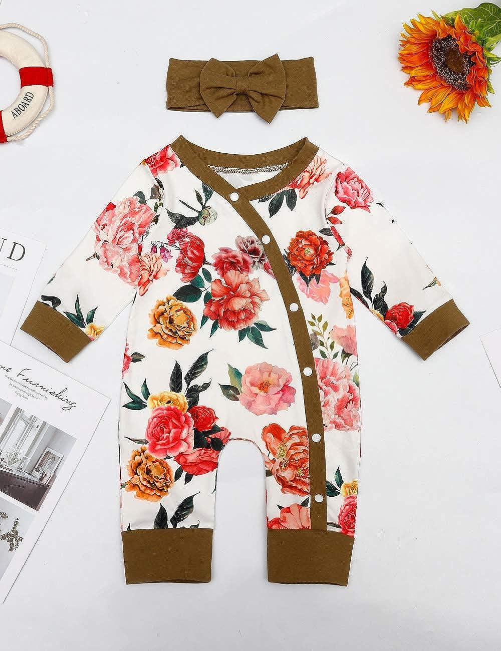 Newborn Baby Girl Romper Clothes Floral Ruffle Sleeve Bodysuit Jumpsuit Headband 2Pcs Outfit Set