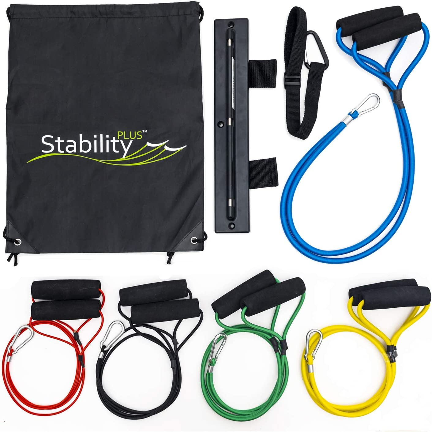 Stability Plus New Super Cords Kits - Industrial-Grade Bungee Cord Resistance Bands, Wall Mounts, Ankle Strap - Portable Home Gym Accessories - Superior to Traditional Latex Tube Bands…