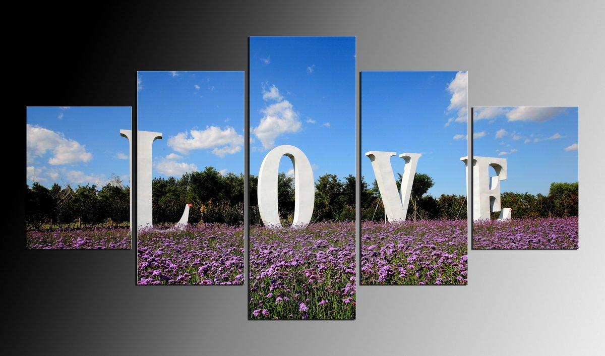 5 Panel Modern Wall Painting Love Letter Canvas Prints Purple Lavender Oil Painting Picture Printed On Canvas No Frame
