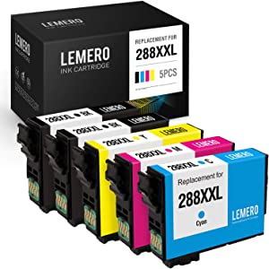 LEMERO Remanufactured Ink Cartridges Replacement for Epson 288XL 288 XL 288 to use with Expression XP-330 XP-430 XP-340 XP-440 XP-434 XP-446 (Black Cyan Magenta Yellow, 5 Pack)