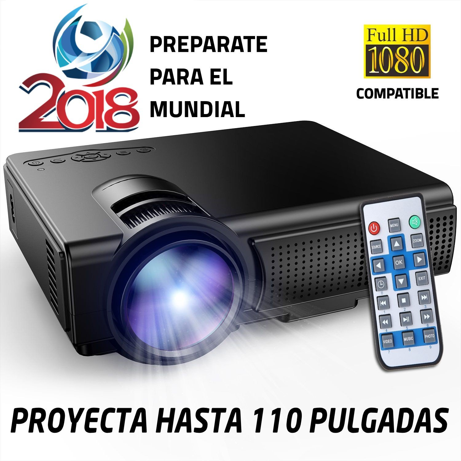 Proyector Full HD 1080P Compatible, Marca Unicview, Portátil Proyectores LED Projector LCD Cine en casa 1920x1080 HDMI VGA USB Multimedia, proyector ...
