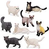 TOYMANY 8PCS Medium Black White Cat Figurines, Realistic Educational Cat Figures Toy Set, Kitten Easter Eggs Cake Topper…