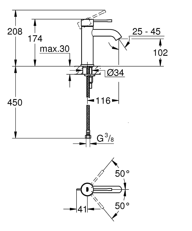 Import Allemagne Chrome GROHE Mitigeur Lavabo Essence 20296001 M