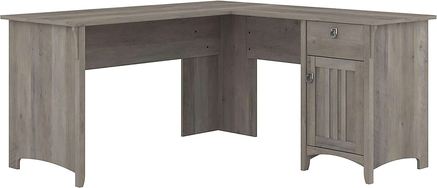 Bush Furniture Salinas L Shaped Desk with Storage, 60W, Driftwood Gray