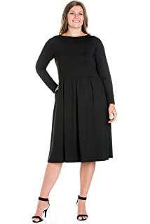 2d9dc327ecb 24seven Comfort Apparel Plus Size Clothing for Women Long Sleeve Fit Flare Midi  Dress Pockets -