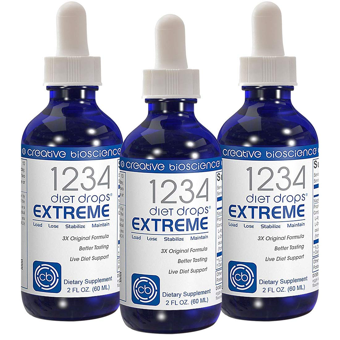 1234 Diet Drops Extreme 3 Bottle Pack by Creative Bioscience