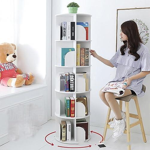 WJXBoos Bookshelf,Creative 360 Rotating Bookcase Simple Disassembly Bookshelves Simple Student Landing Rack-White 46x46x158cm 18x18x62