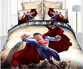 Amazon.com: Superman Super Hero Cotton Bed Linen 3d Bedroom ...