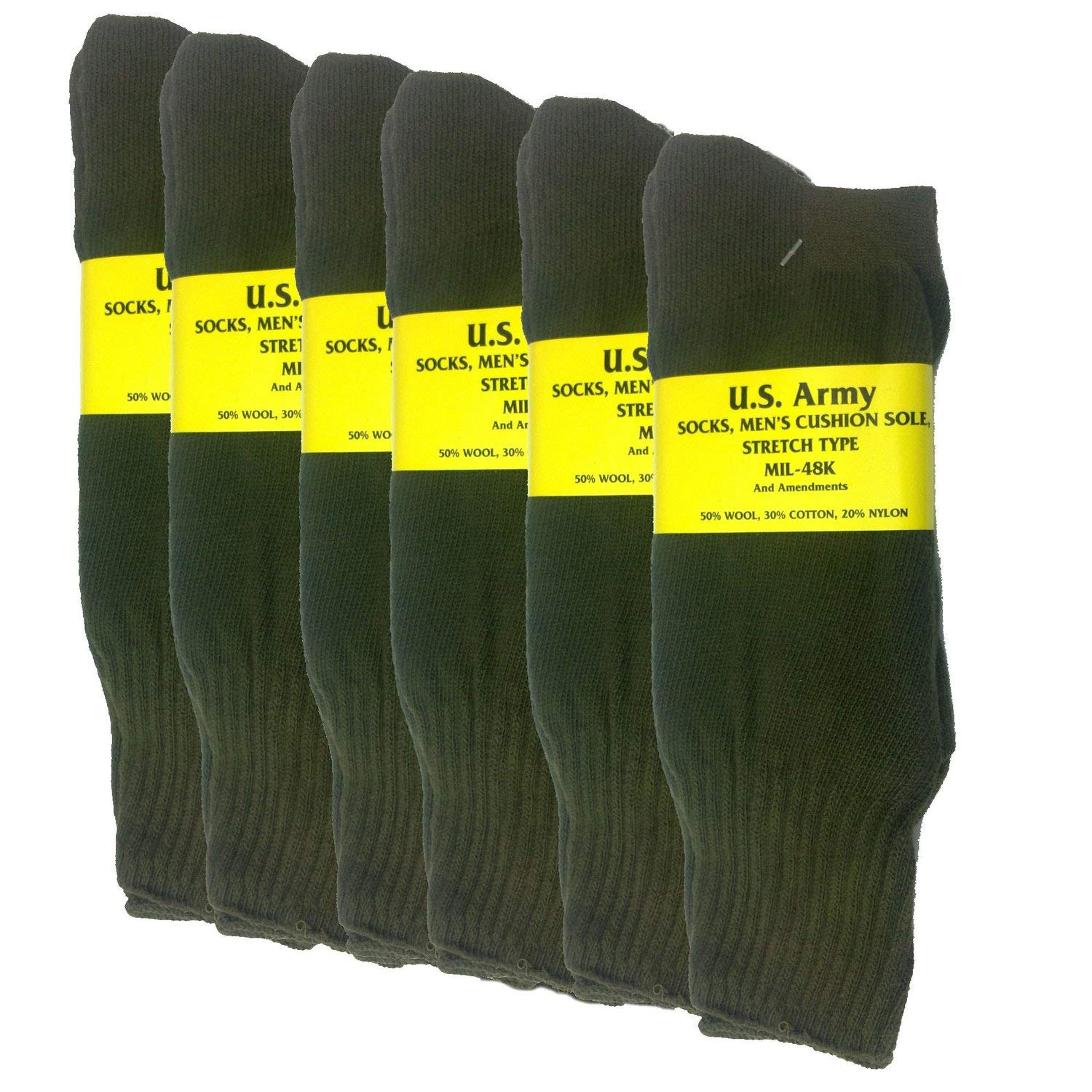 Olive Drab U.S. Army Sock Package - 6 PAIRS - Small by CUSTOM