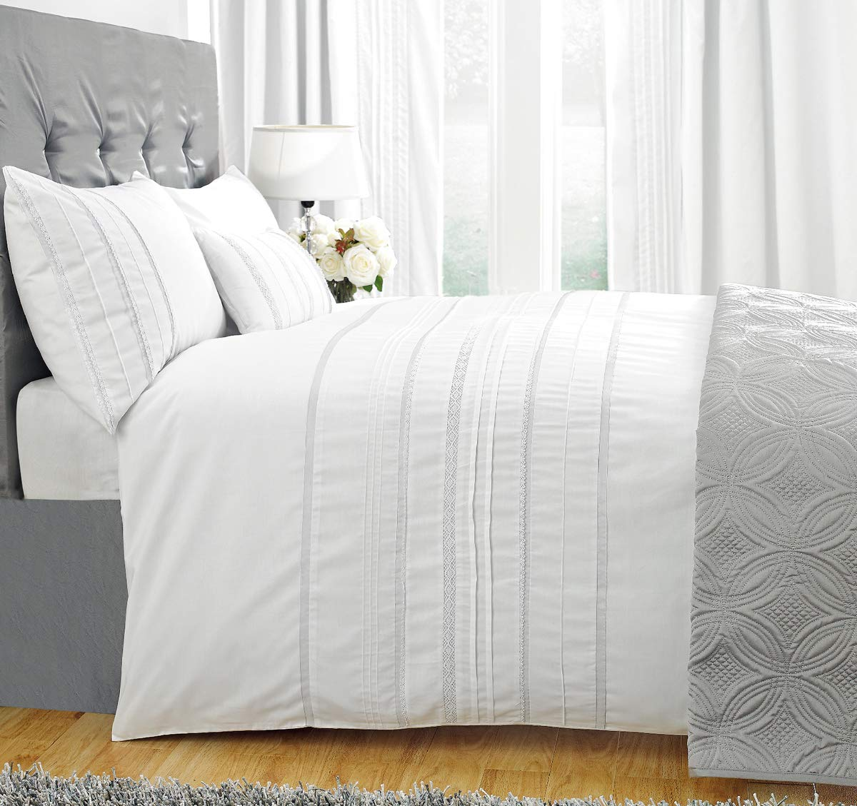 ZIGGUO Embellished Stripes White Duvet Cover Queen, Delicately Pintucked Lace Trim, 100% Cotton Bedding Set, 90''x90''