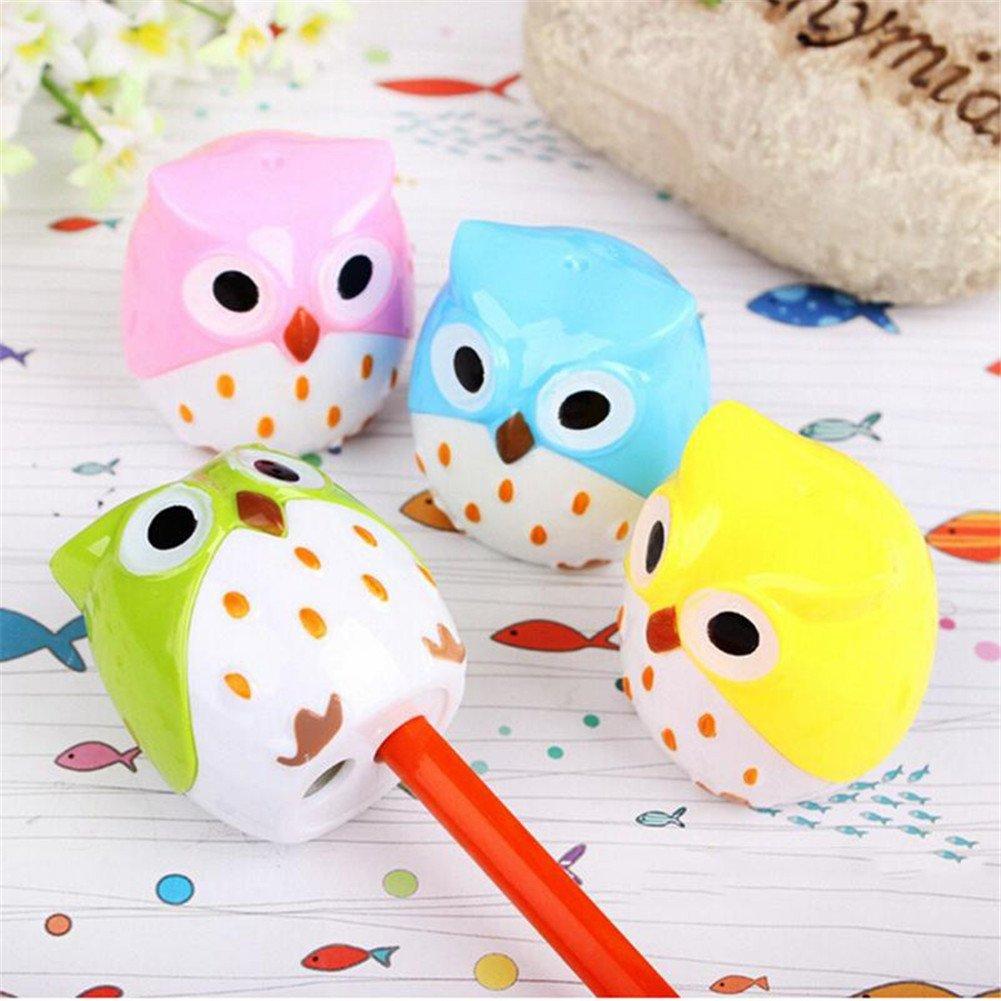 Green Vikenner Mini Cute Cartoon Owl Pencil Sharpener Plastic Double Hole Crayon Sharpener School Office Stationery Supplies for Children Kids
