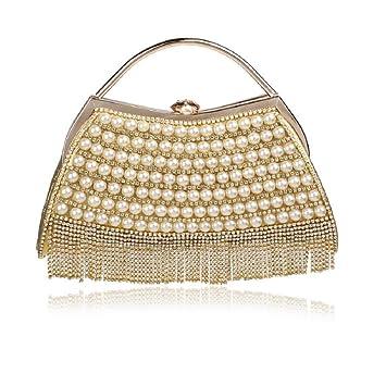 XICHEN Fashion Pearl handmade Women s wedding package evening bag Fashion  handbag Fashion Cosmetic bag (Gold