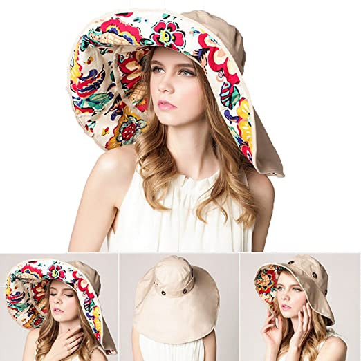 03ab1d1b6b9 CATOP UPF 50+ Foldable Roll up Sun Hat Female Large Wide Brim Floppy Beach  Hat