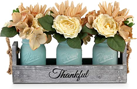 Gbtroo Mason Jar Table Centerpieces For Dining Room Coffee Table Decor Centerpiece With 3 Mason Jars And Flowers Farmhouse Home Decor Rustic Living Room And Kitchen Table Decoration Center