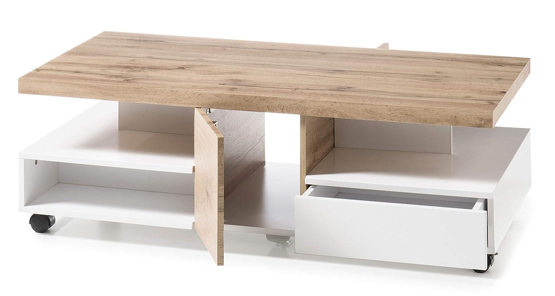 wei/ß matt//Eiche B//H//T ca Robas Lund Rennes Couch-//Wohnzimmertisch 120//40//60 cm