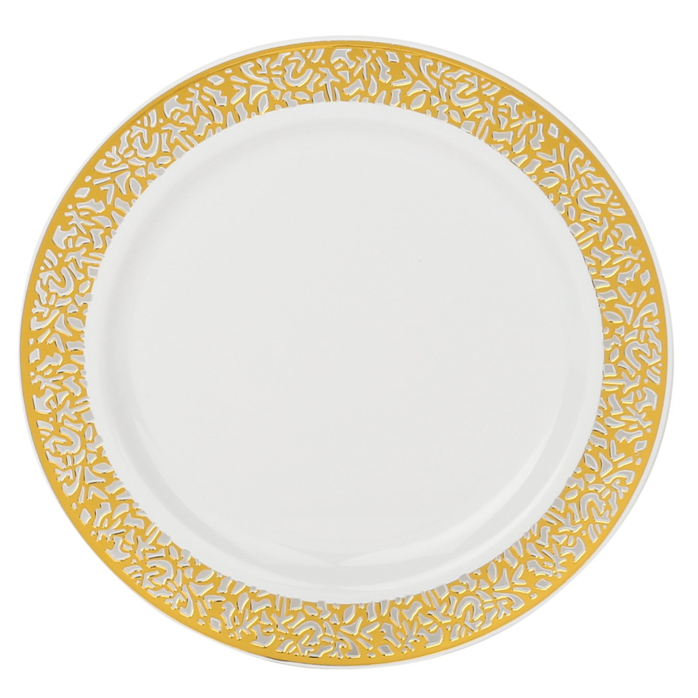 Kaya Collection - Disposable White with Gold Lace Rim Plastic Round 7.5'' Salad/Dessert Plates - 1 Case (120 Plates)