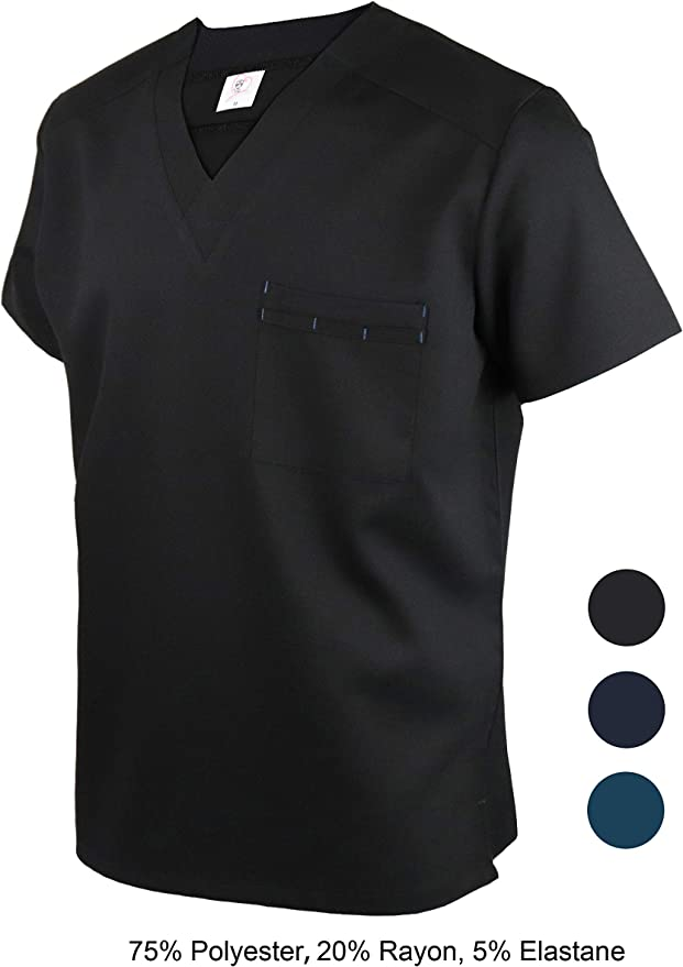 JONATHAN UNIFORM Hombres Ropa de Trabajo Elástico V Cuello, Camisas de Uniforme con 1 Bolsillo, Masculino Ropa y Uniformes para Esteticistas Camareros: Amazon.es: Ropa y accesorios