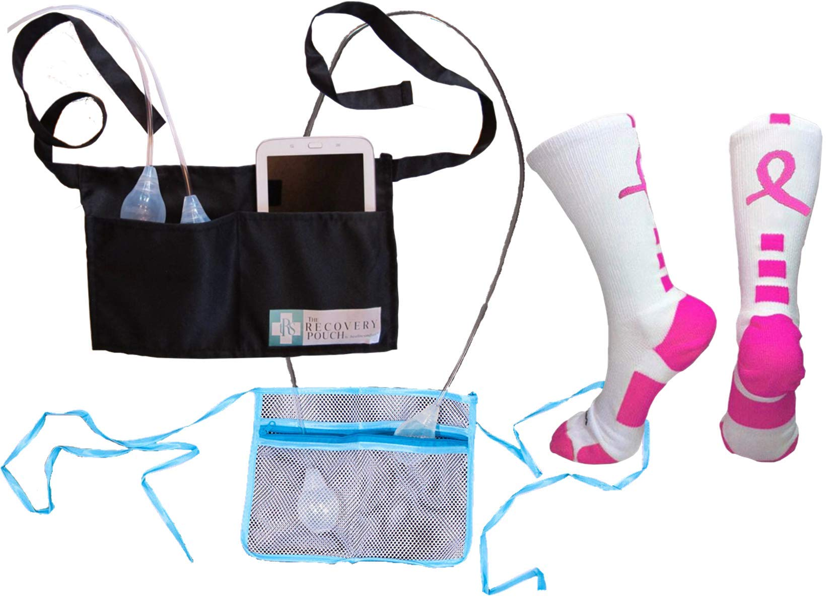 TRS Breast Cancer Mastectomy Drain Bulb Pouch Holder 1 for Shower 1 for Day/Bedtime Plus Compression Socks
