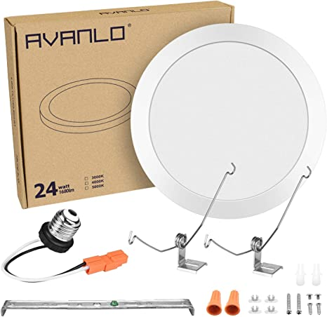 Avanlo 1 Pack 12 24w 150w Equivalent Led Ceiling Light Fixture Round Disk Light Dimmable 4000k 1680lm 120v 3 Easy Installation For Surface Mount 3 5 4 Junction Box 5 6 Recessed Can Amazon Com