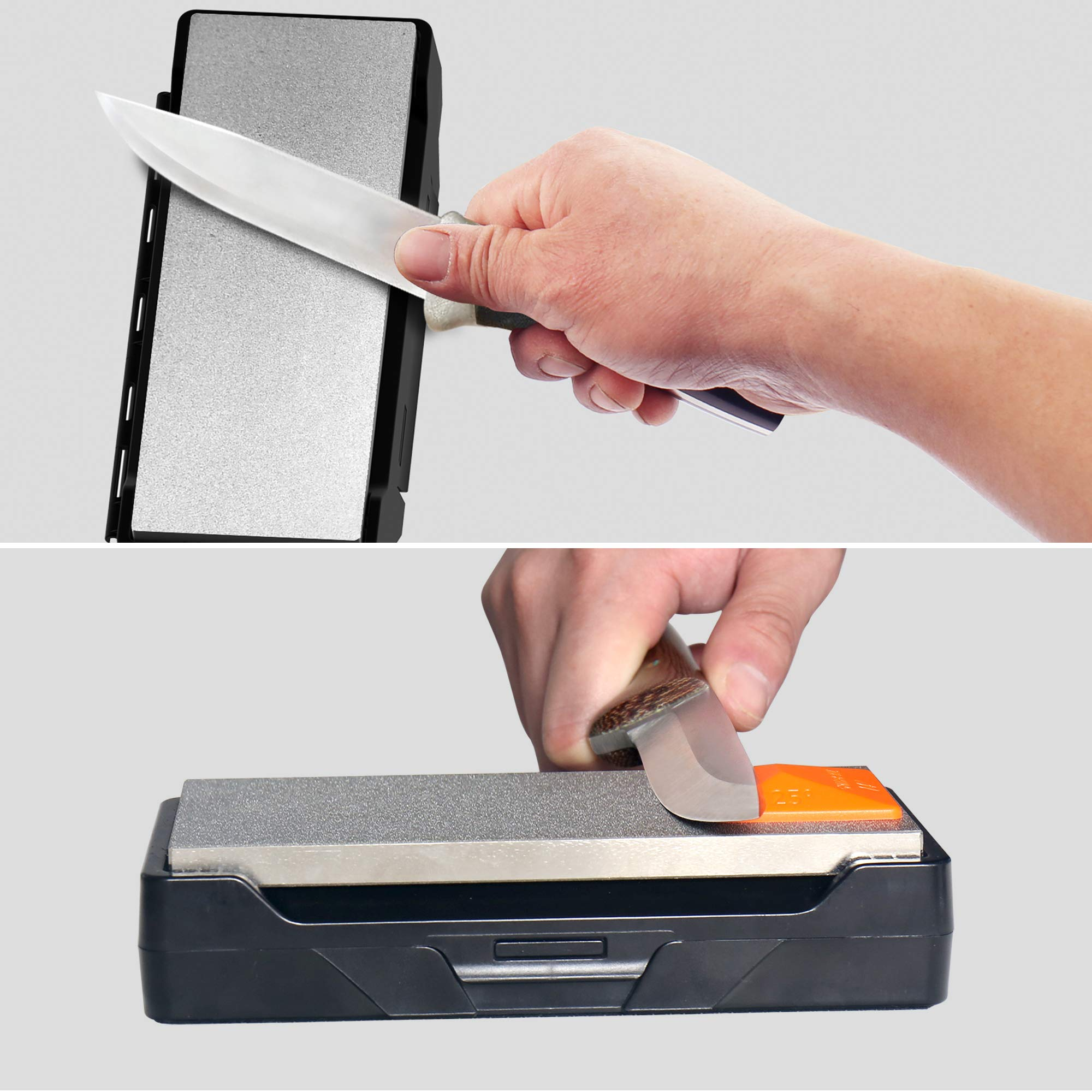 SHARPAL 156N Diamond Whetstone Knife Sharpener with Storage Base | 2 Side Grit Coarse 325 / Extra Fine 1200 | Diamond Sharpening Stone | NonSlip Base & Angle Guide (6 in. x 2.5 in.) by SHARPAL (Image #3)