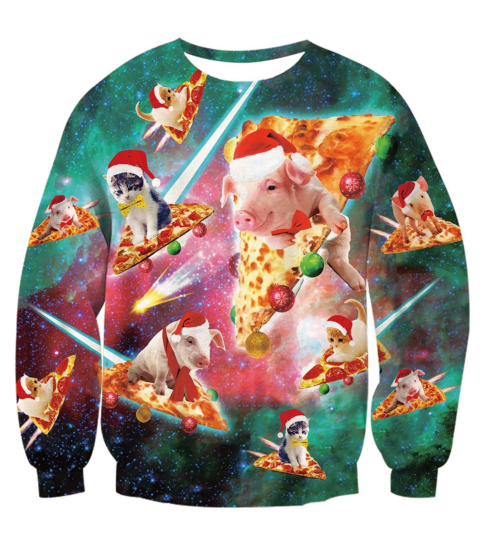 TUONROAD Ugly Christmas Sweater Adults Novelty Sweatshirt 3D Printed Beam Round Neck Long Sleeve Top Jumper Round Neck Pullover Sweaters