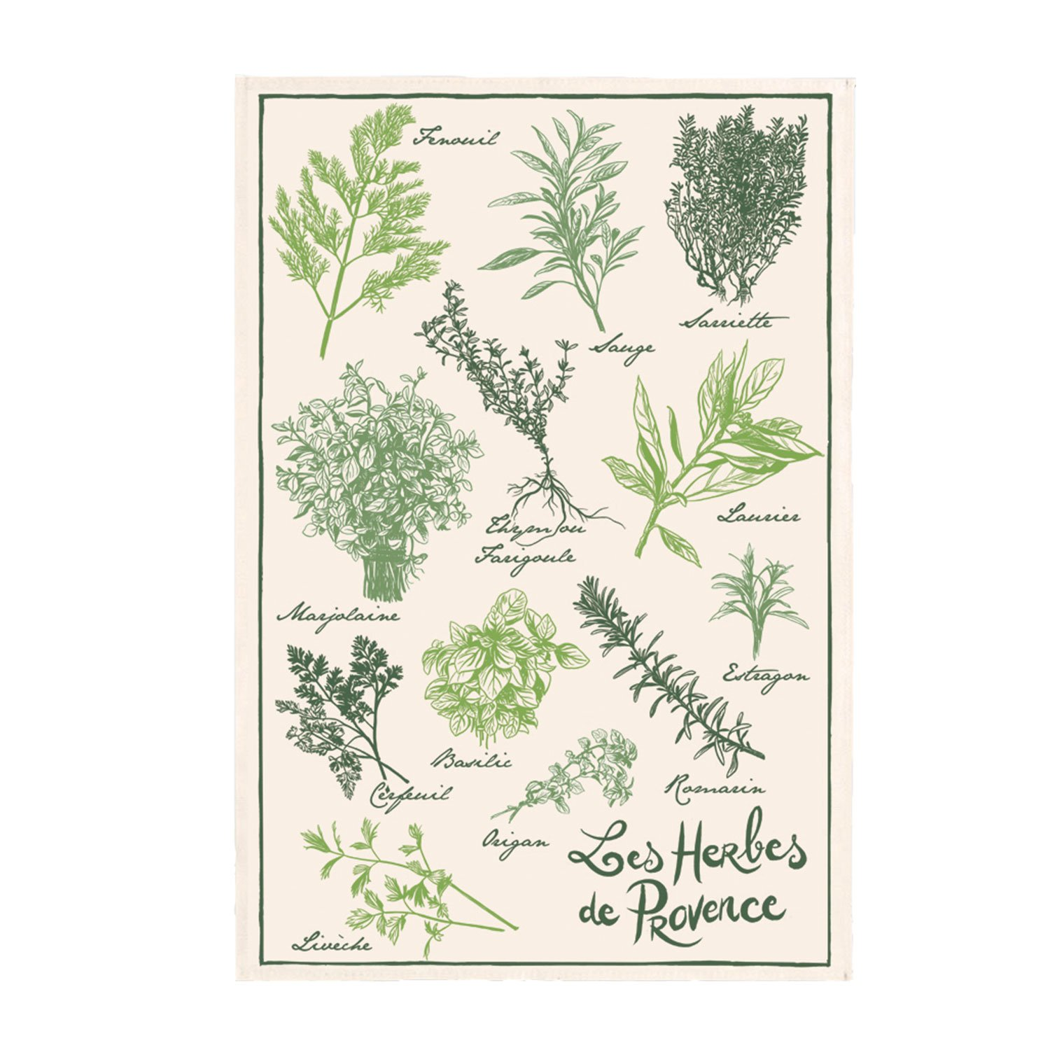 Torchons and Bouchons Herb Tea Towel from Provence - Made in France.