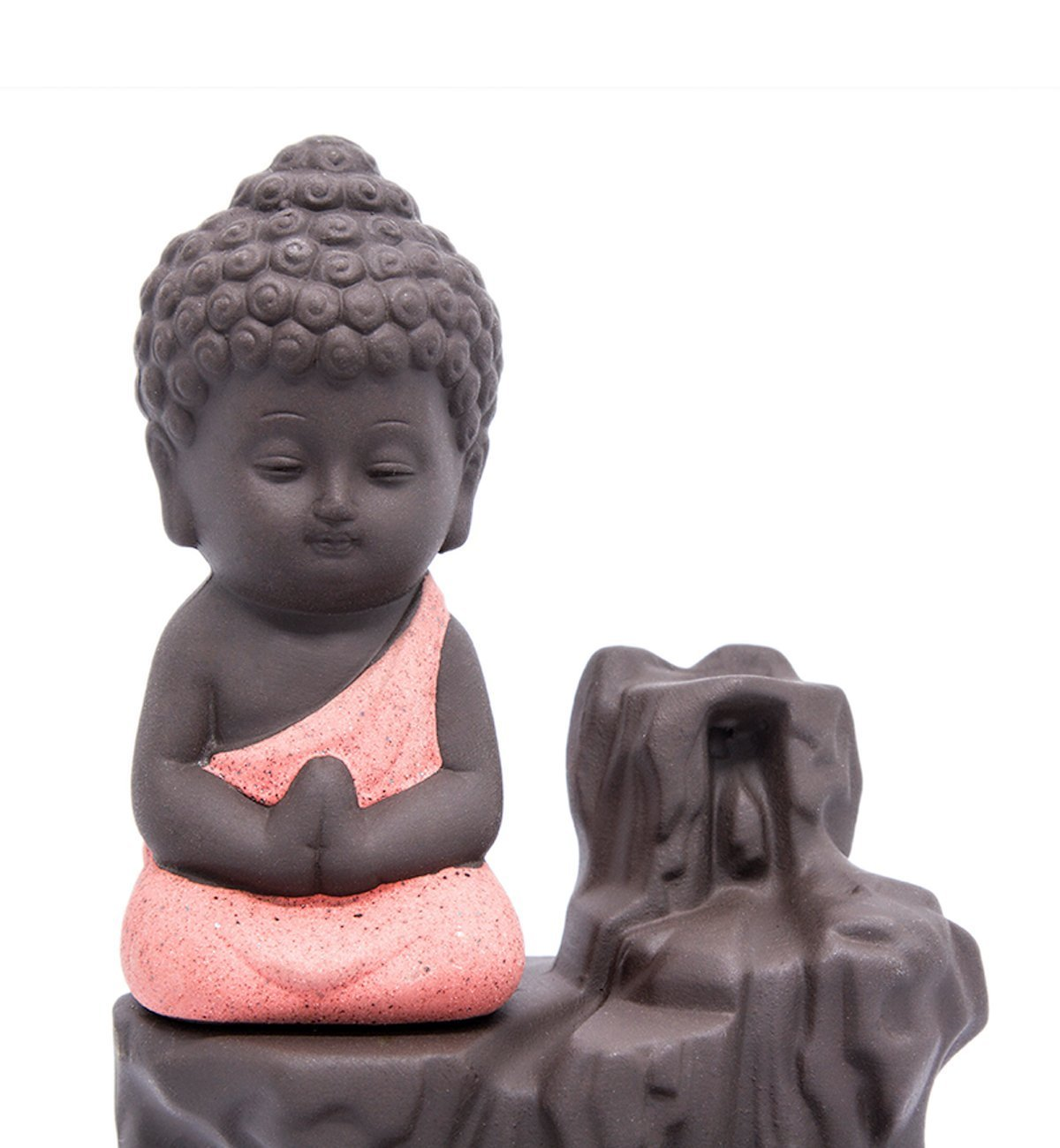IN-001Red The Little Monk Waterfall Backflow Homemade Buddha Incense Burner Tower Cones Sticks Holder Ash Catcher