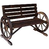 "FDInspiration Brown 41.5"" L Fir Wood Garden Wagon Wheel Loveseat Accent Outdoor Bench Patio Rustic Style Armrests Chair…"