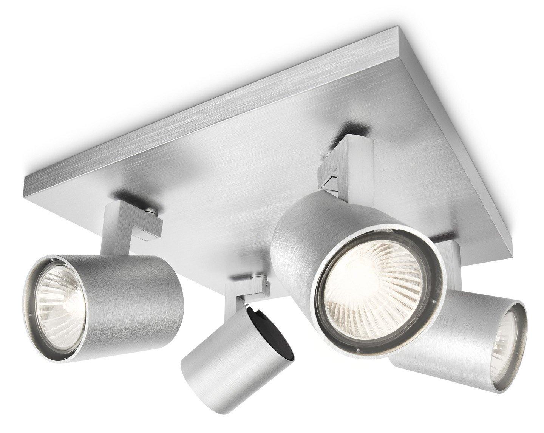 Lato 24 cm Lampadina Inclusa Spot 4 Luci Bianco Metallo Philips Runner Lampada Quadrata da Soffitto