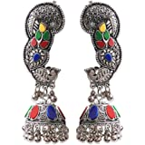 "Young & Forever ""Boho Gypsy Collection"" Brass Silver Oxidized Dangle & Drop Earrings For Women"