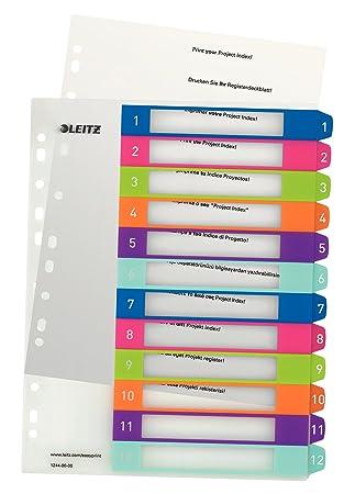 Leitz 12440000 - Índice para archivadores (A4, pestañas numeradas del 1 al 12), multicolor: Amazon.es: Oficina y papelería