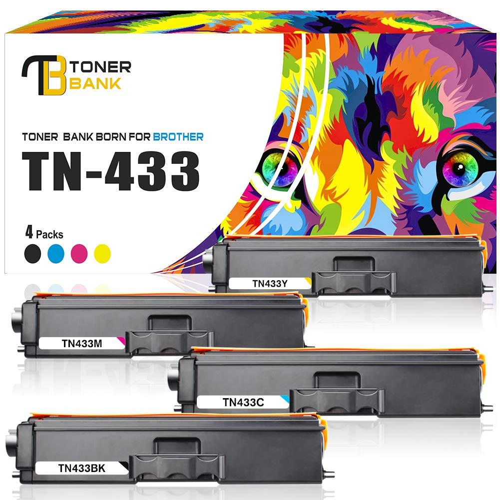 Toner Bank 4Packs Compatible Brother TN433 TN433BK Toner Cartridge for Brother HL-L8360CDW HL-L8360CDWT HL-L8260CDW MFCL8900CDW MFCL8610CDW MFCL9570CDW MFC-L8900CDW Printer High Yield TN-433 TN431