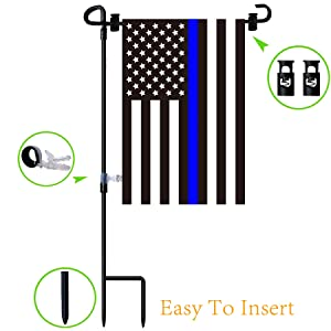 W&X Garden Flag Stand & American Flag, thin blue line garden flag with Anti-Wind Clip,Stopper,Weatherproof 2 Sided 12x18 Inch Patriotic US Flag Banner Keep Your Flags from Flying Away in High Winds
