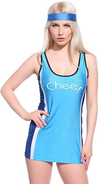 Maboobie Robe D 'ETE corta (sin mango estilo DEBARDEUR Long Cheerleader jugadora disfraz azul M ...