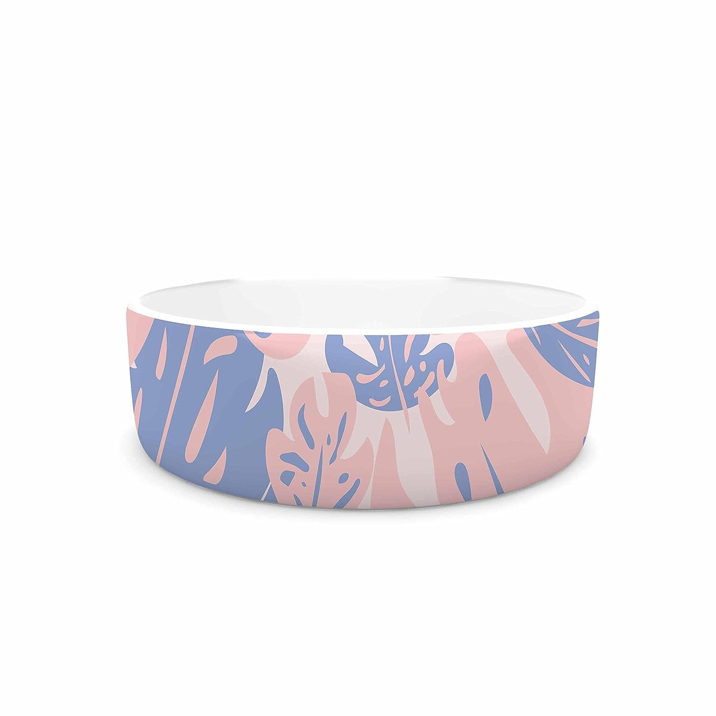 KESS InHouse will Wild pink Quartz & Serenity Jungle  Pink Floral Pet Bowl, 7