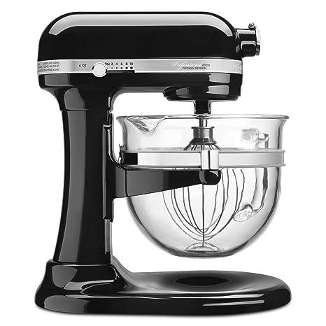 KitchenAid 6500 Series Black Stand Mixer with Glass Bowl KSM6521XOB, 6 qt.