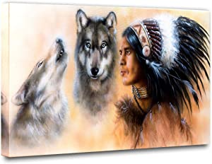 Canvas Wall Decor, Native American young indian warrior accompanied with two wolves painting Ethnic Feather Canvas Poster Print Picture for Living Room Home Decor Painting 1 Piece(16''Wx24''H)